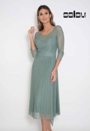 Vestido midi tule jacquard plissado com faixa - ref: 0201984 - R$ 499,90 em 6x de R$ 83,32